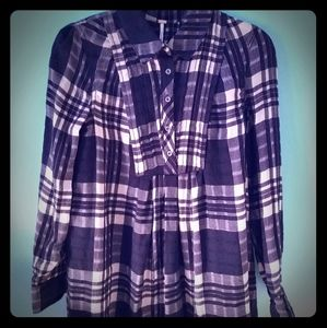 NWT Free People button down plaid tunic